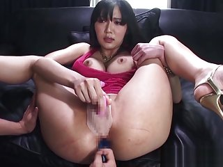 Naughty Asian babe Miki Ichiki in red lingerie gets anal penetration