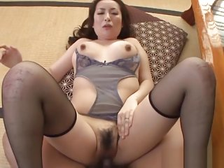 Aoi Aoyama mature Asian babe in stockings gives pov footjob