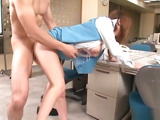 Big tit Asian office lady gets cum facial and stand fucking