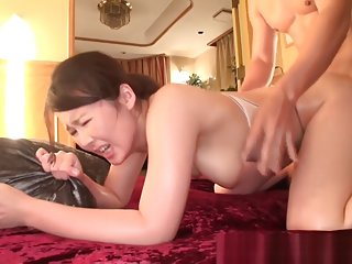 Naho Yuumi busty Asian babe in transparent lingerie gets facial