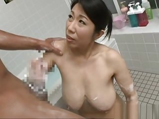 Rumiko Yanagi hot Asian mature enjoys soaping and fucking