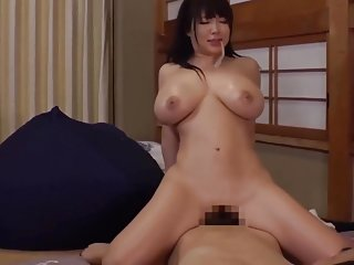 Big boob girl japanese swallows cum from condom