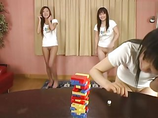 Bottomless Japanese girls play Jenga