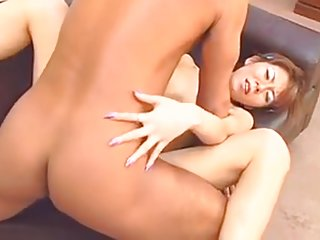 Brunette Asian gets her tight asshole spread open